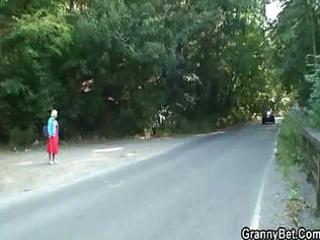 granny is picked up from the road and fucked in