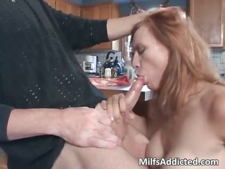 sexy oral-service session with breasty brunette