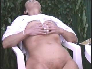 mature lady masturbating outdoor