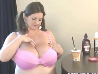 bulky brunette hair maria moore has huge milk