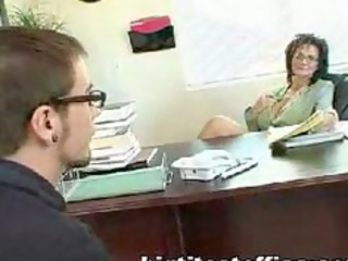 aged mommy bonks computer repairman in her office