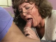 messy older mom engulfing and giving a kiss