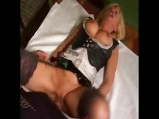 busty mature blonde maid nibbles on his boner