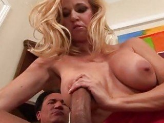 breasty blond mother i in hot red costume gets