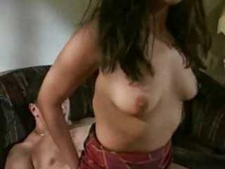 sexy brunette milf receives nailed on sofa