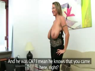 aged woman fucking on leather sofa