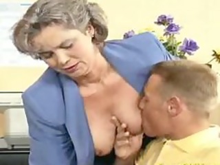 mad old mommy gets cock screwed and office