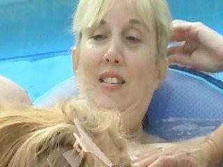 non-professional aged backyard lesbos take turns