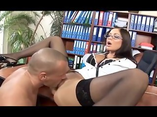 secretary with glasses haunch high stockings and