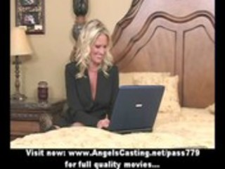 bored blonde mother i with laptop undressing and