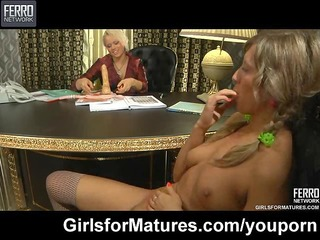 lesbo milf and youthful girl in the office