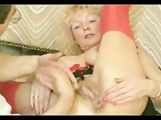 german slut is pleased after fisting and bottle