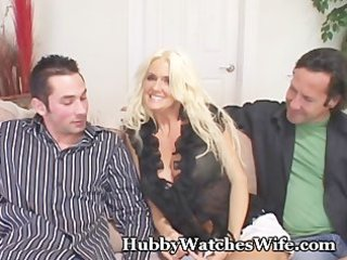 cougar wife bonks young guy as hubby watches