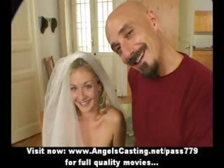 superb hawt non-professional blond wife talking