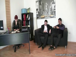 sexy business lady takes knobs