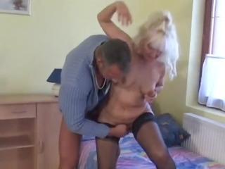 hawt blond euro granny assbanged in nylons