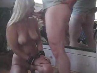 blond milf blows cock and nearly chokes on the