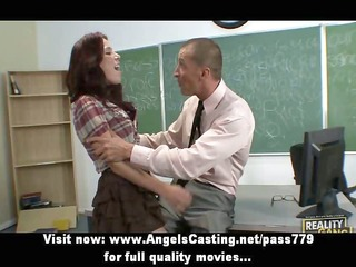 naughty redhead schoolgirl spanked by teacher and
