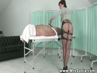 headmistress lends him a hand with his hard jock
