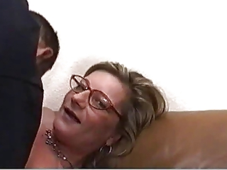 golden-haired milf with glasses screwed hard and