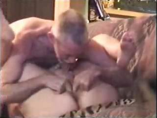old aged blond is getting licked and screwed by