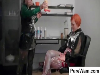 redhead and brunette lesbian babes are spreading