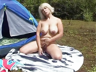 camping breasty mother