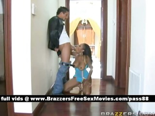 appealing dark brown babe at home acquires a blow
