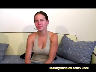 young brunette on the casting couch blows him and