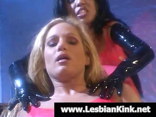 sexy golden-haired and swarthy lesbian babes in