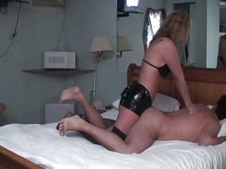 wife femdom-goddess pounds husbands arse with dong