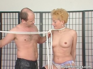 milf blond gets tits tied in this