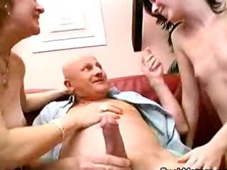 a hot oral sex three-some aged feat