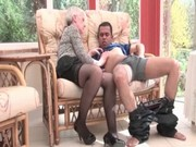 blond aged receives her boobs teased