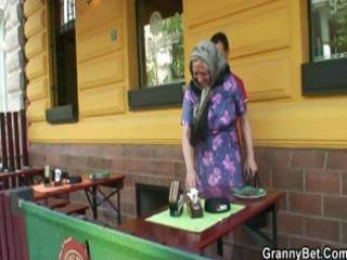 granny golden-haired receives taken home and