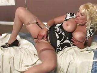 blond momma with giant tits in hot underware
