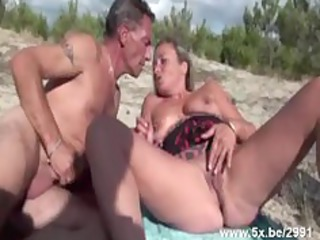 french older team-fucked on the beach