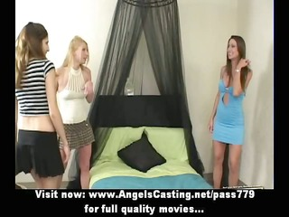 lesbo trio with college angels undressing and
