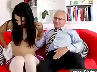 brunette sucks a cock