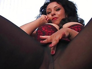 nasty darksome haired milf in black hose plays