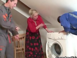 two repairmen group sex busty from the one and