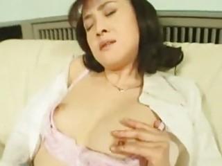 horny oriental wife masturbating in stockings
