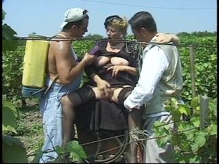 grandma gets gang team-fucked in the corn fields