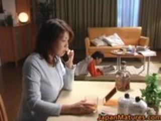 excited japanese older women sucking