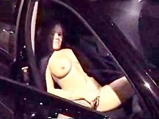home video. wife totally bare masturbating in car