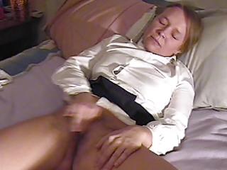 girl masturbates and cums twice, interrupted by