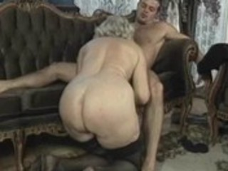 mature golden-haired floozy rides cock in group