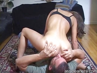 mean mistress sits on ass cleaners face for arse