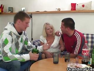 partying boys screw blond granny