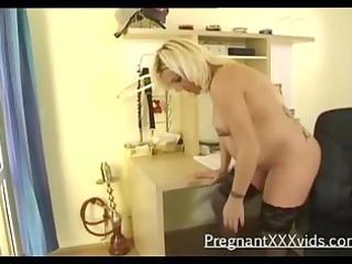 a teasing blonde preggy solo